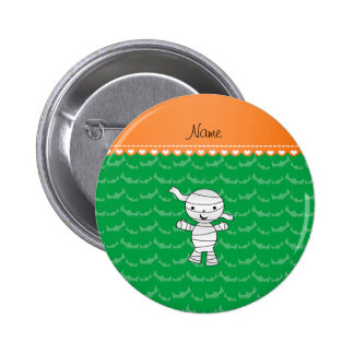 Personalized name mummy green bats 2 inch round button