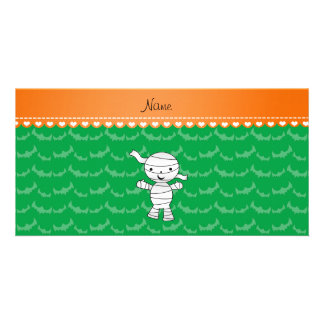 Personalized name mummy green bats photo card