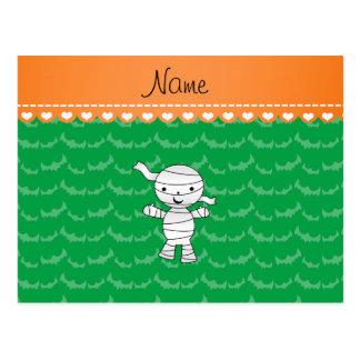 Personalized name mummy green bats postcard