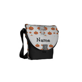 Personalized name mummy orange pumpkins courier bag