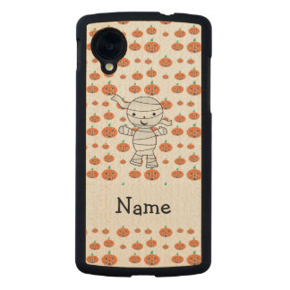 Personalized name mummy orange pumpkins carved® maple nexus 5 case
