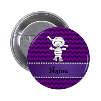 Personalized name mummy purple chevrons buttons