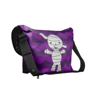 Personalized name mummy purple chevrons courier bag