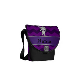 Personalized name mummy purple chevrons courier bags