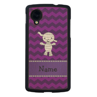 Personalized name mummy purple chevrons carved® maple nexus 5 slim case