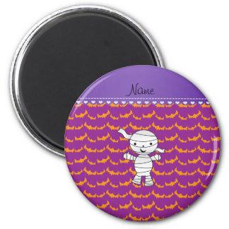 Personalized name mummy purple orange bats 2 inch round magnet