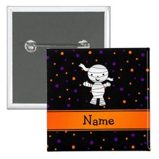 Personalized name mummy purple orange dots 2 inch square button