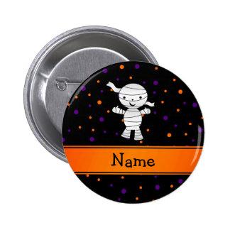 Personalized name mummy purple orange dots 2 inch round button