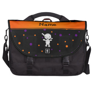 Personalized name mummy purple orange dots commuter bags