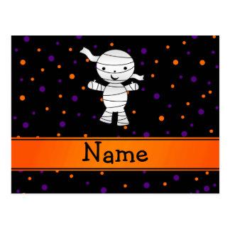Personalized name mummy purple orange dots postcard