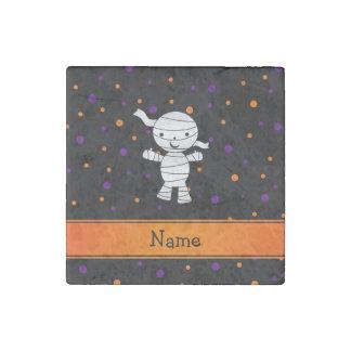 Personalized name mummy purple orange dots stone magnet