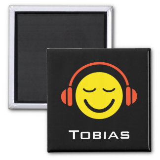 Personalized name music smiley face magnet
