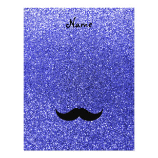 "Personalized name mustache neon blue glitter 8.5"" x 11"" flyer"