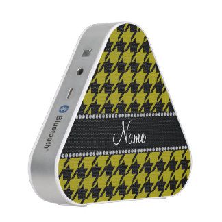 Personalized name mustard yellow black houndstooth speaker