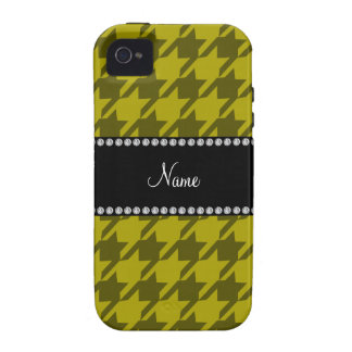 Personalized name mustard yellow houndstooth iPhone 4 cover