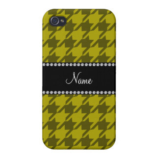 Personalized name mustard yellow houndstooth case for iPhone 4