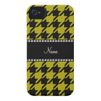 Personalized name mustard yellow houndstooth patte blackberry cases