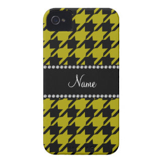 Personalized name mustard yellow houndstooth patte iPhone 4 covers