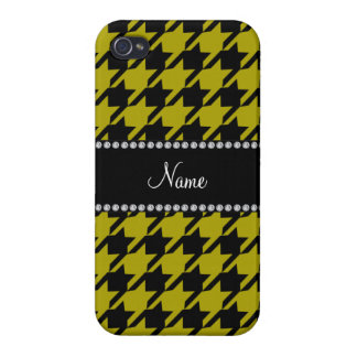 Personalized name mustard yellow houndstooth patte case for iPhone 4
