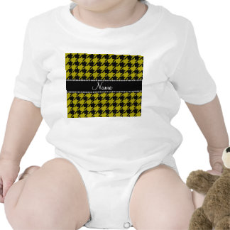 Personalized name mustard yellow houndstooth patte t shirts