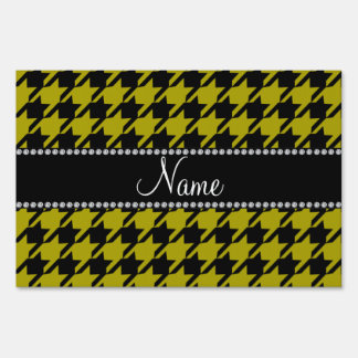 Personalized name mustard yellow houndstooth patte yard sign