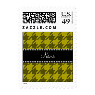 Personalized name mustard yellow houndstooth postage