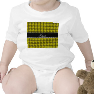 Personalized name mustard yellow houndstooth rompers