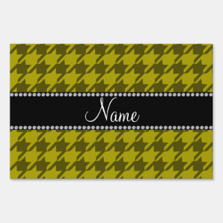 Personalized name mustard yellow houndstooth yard sign