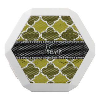 Personalized name mustard yellow quatrefoil white boombot rex bluetooth speaker