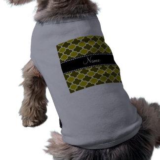 Personalized name mustard yellow quatrefoil patter doggie tee shirt
