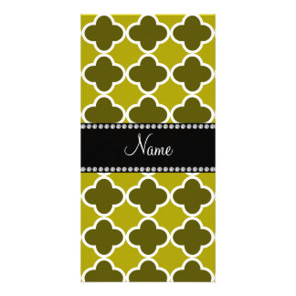 Personalized name mustard yellow quatrefoil patter photo card template