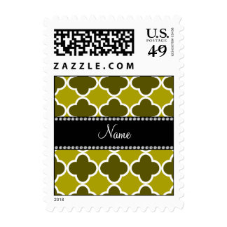 Personalized name mustard yellow quatrefoil patter postage stamp