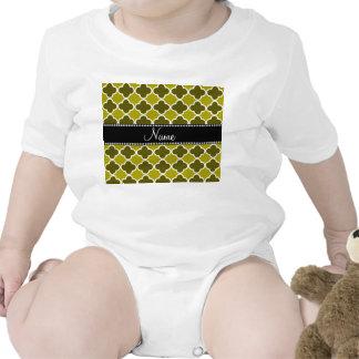Personalized name mustard yellow quatrefoil patter t shirt