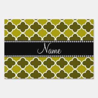 Personalized name mustard yellow quatrefoil patter signs