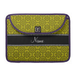 Personalized name mustard yellow retro flowers sleeve for MacBook pro