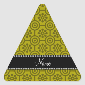 Personalized name mustard yellow retro flowers stickers