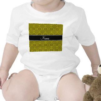 Personalized name mustard yellow retro flowers rompers