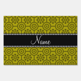 Personalized name mustard yellow retro flowers yard sign