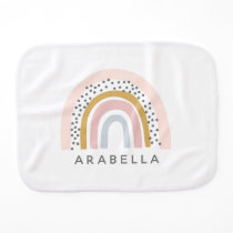 Personalized Name Muted Rainbow Baby Burp Cloth