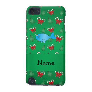 Personalized name narwhal green candy canes bows iPod touch (5th generation) cases