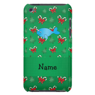 Personalized name narwhal green candy canes bows iPod touch Case-Mate case