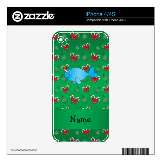 Personalized name narwhal green candy canes bows decals for iPhone 4S