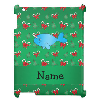 Personalized name narwhal green candy canes bows cover for the iPad 2 3 4