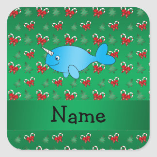 Personalized name narwhal green candy canes bows sticker