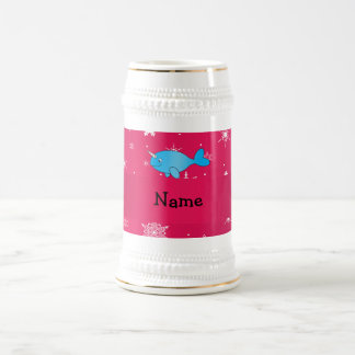 Personalized name narwhal pink snowflakes 18 oz beer stein