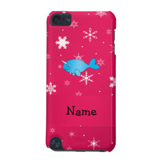 Personalized name narwhal pink snowflakes iPod touch 5G cover
