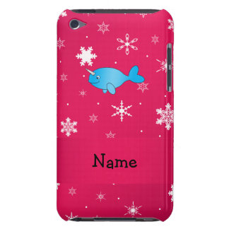 Personalized name narwhal pink snowflakes barely there iPod covers