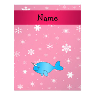 Personalized name narwhal pink snowflakes flyers