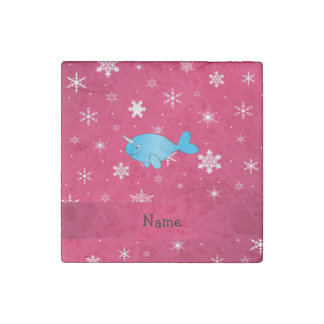 Personalized name narwhal pink snowflakes stone magnet