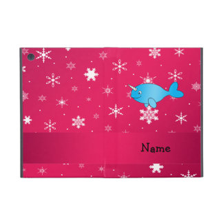 Personalized name narwhal pink snowflakes iPad mini cover